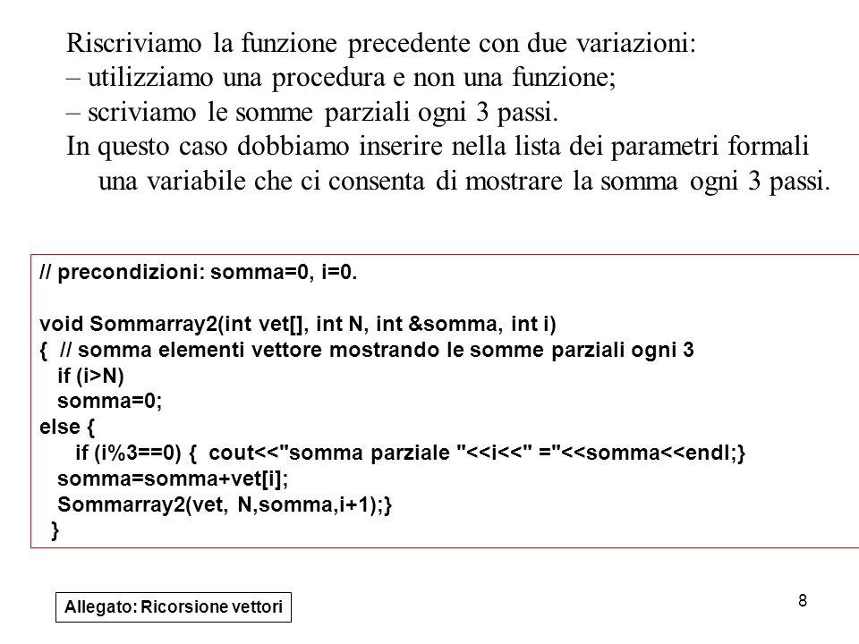 Riscriviamo la funzione precedente con due variazioni: