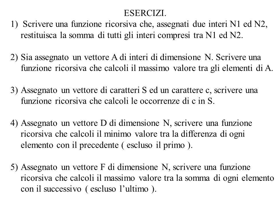 ESERCIZI. 1) Scrivere una funzione ricorsiva che, assegnati due interi N1 ed N2, restituisca la somma di tutti gli interi compresi tra N1 ed N2.