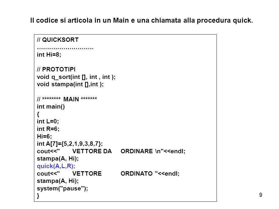 Il codice si articola in un Main e una chiamata alla procedura quick.