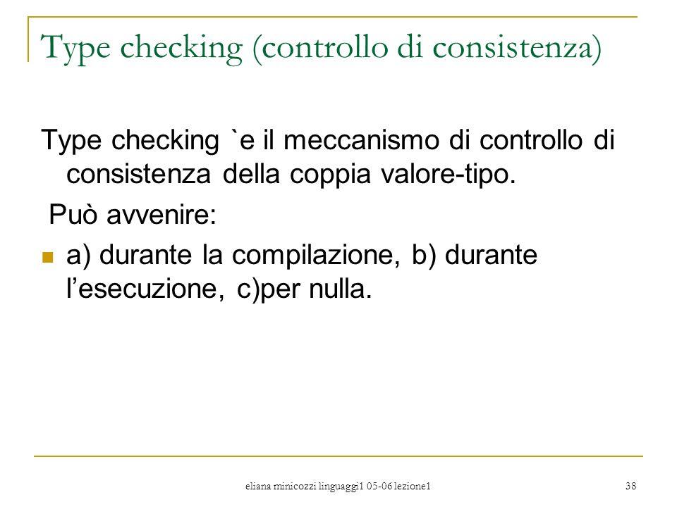Type checking (controllo di consistenza)