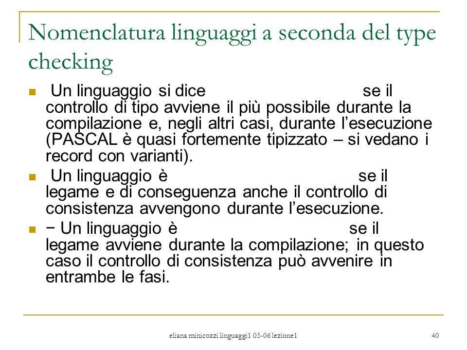 Nomenclatura linguaggi a seconda del type checking