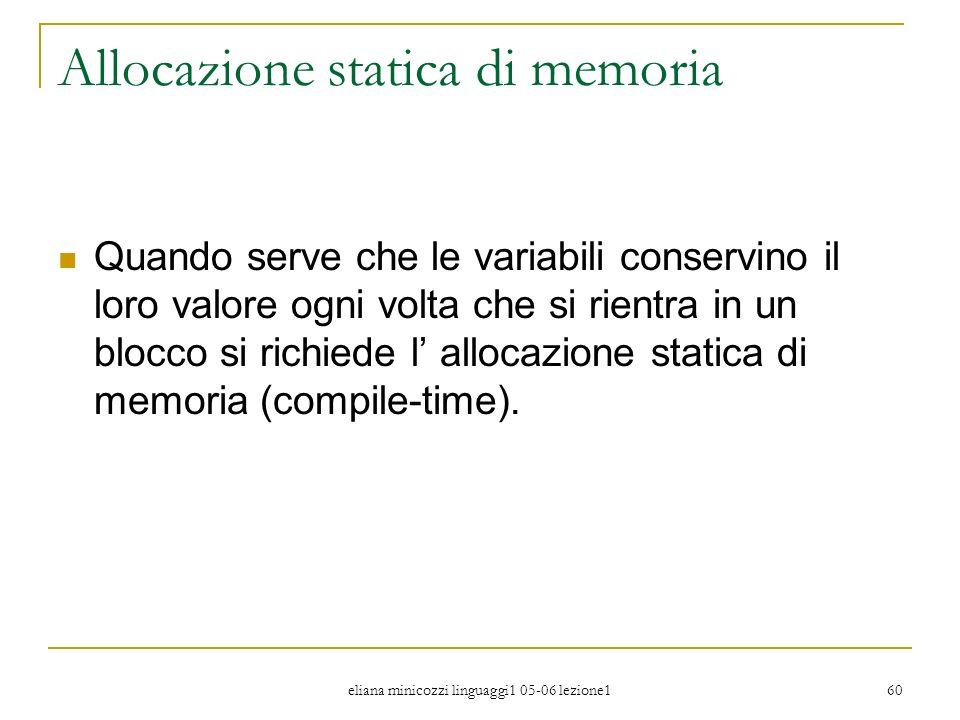 Allocazione statica di memoria