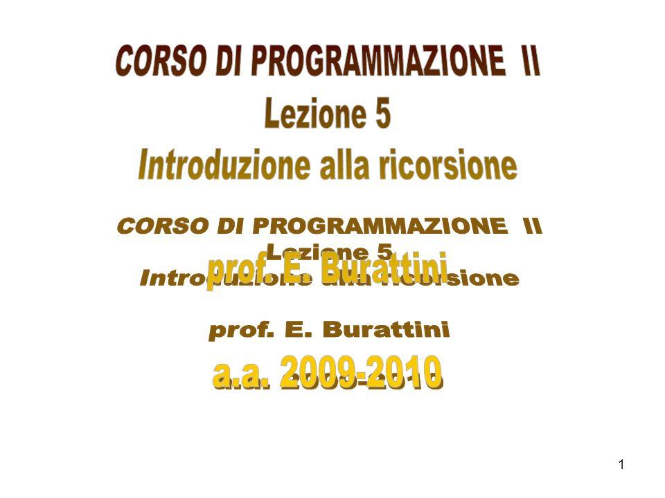 CORSO DI PROGRAMMAZIONE II Introduzione alla ricorsione