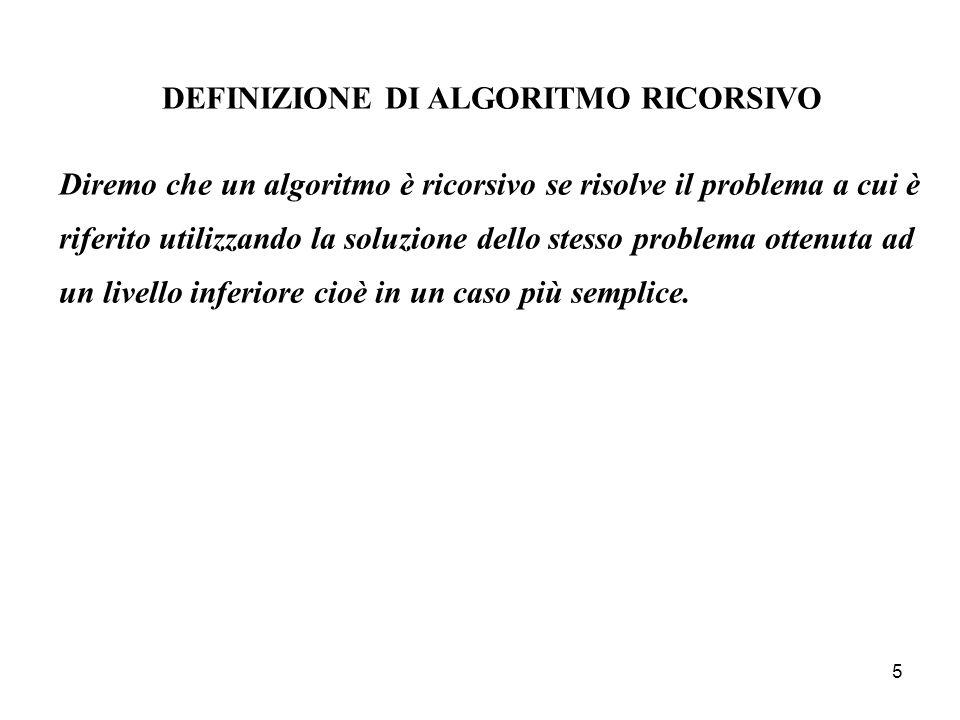 DEFINIZIONE DI ALGORITMO RICORSIVO