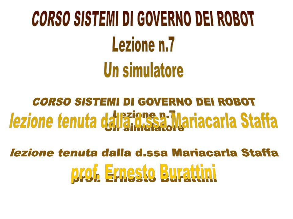 CORSO SISTEMI DI GOVERNO DEI ROBOT Lezione n.7 Un simulatore
