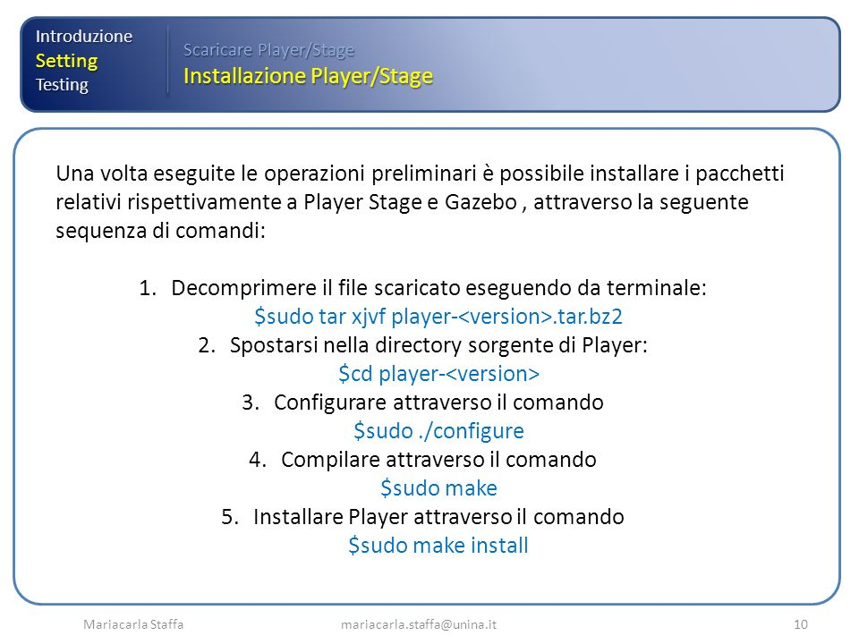 Installazione Player/Stage