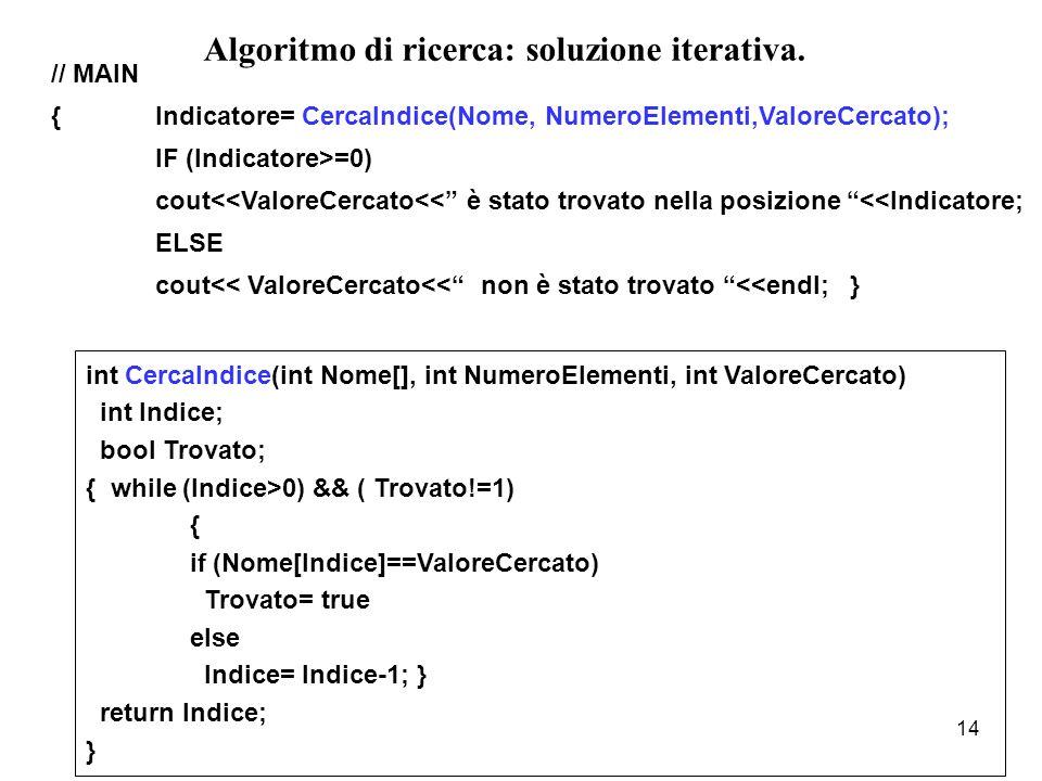 Algoritmo di ricerca: soluzione iterativa.