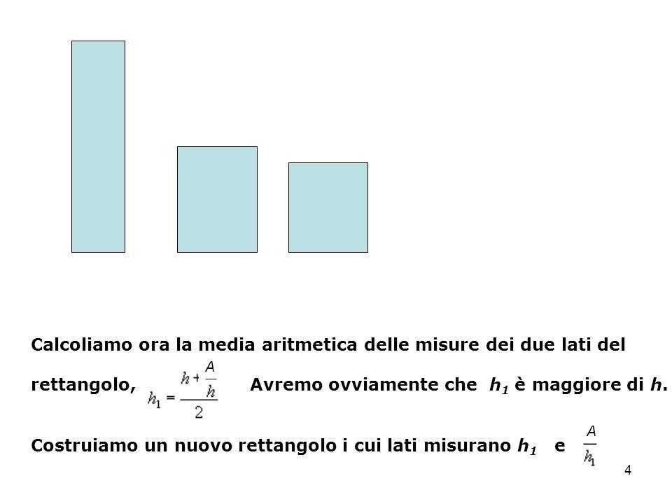 Calcoliamo ora la media aritmetica delle misure dei due lati del