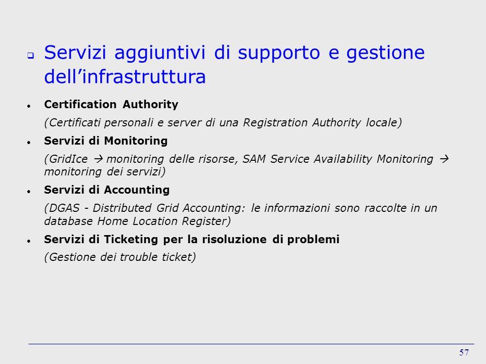 Servizi aggiuntivi di supporto e gestione dell'infrastruttura