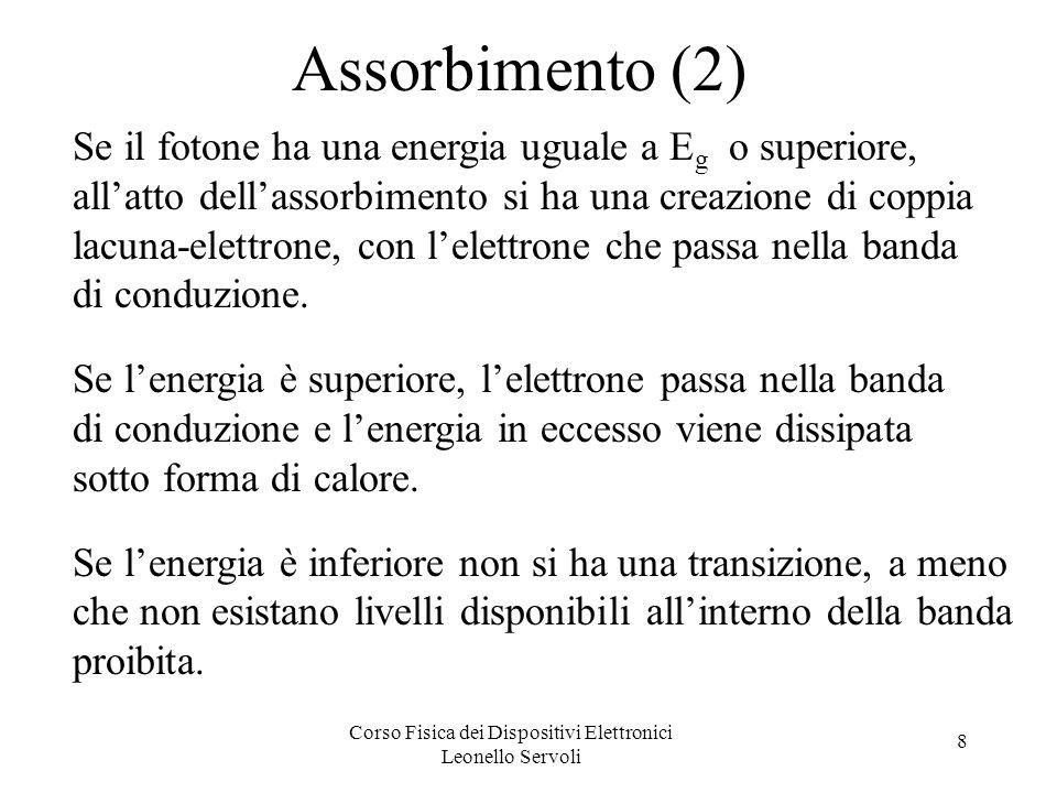 Corso Fisica dei Dispositivi Elettronici Leonello Servoli