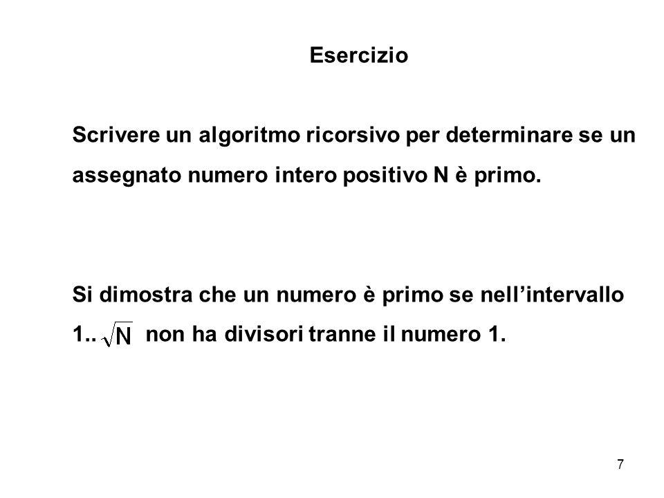 Esercizio Scrivere un algoritmo ricorsivo per determinare se un assegnato numero intero positivo N è primo.