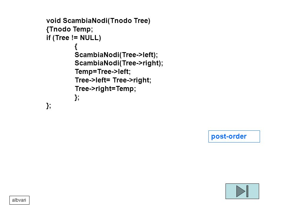 void ScambiaNodi(Tnodo Tree) {Tnodo Temp; if (Tree != NULL) {