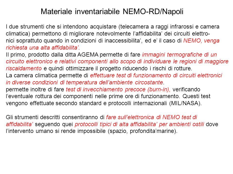 Materiale inventariabile NEMO-RD/Napoli