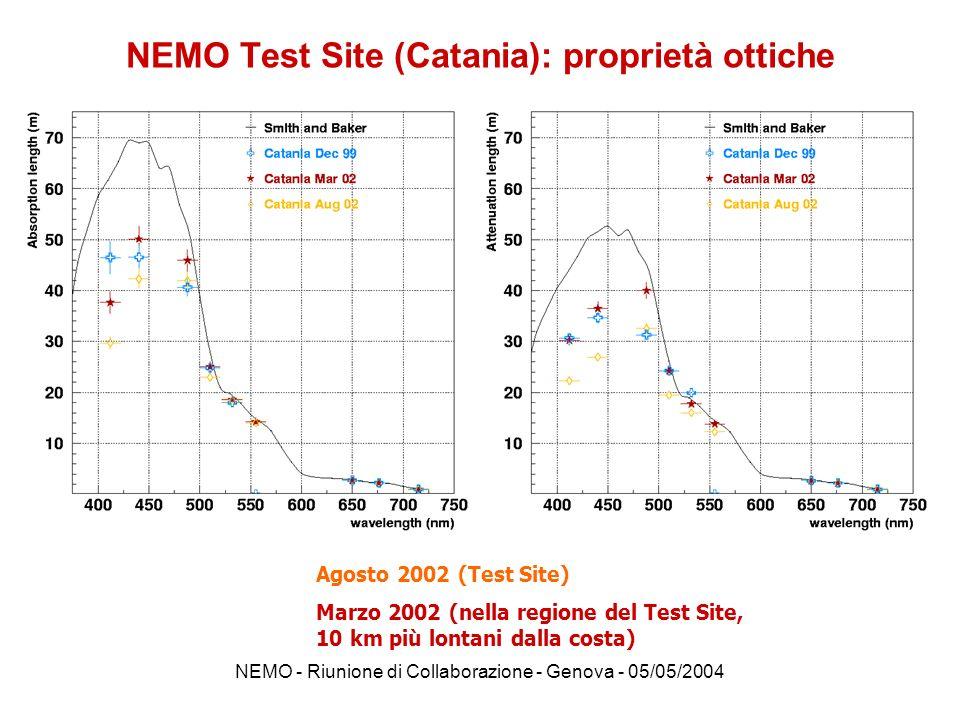 NEMO Test Site (Catania): proprietà ottiche