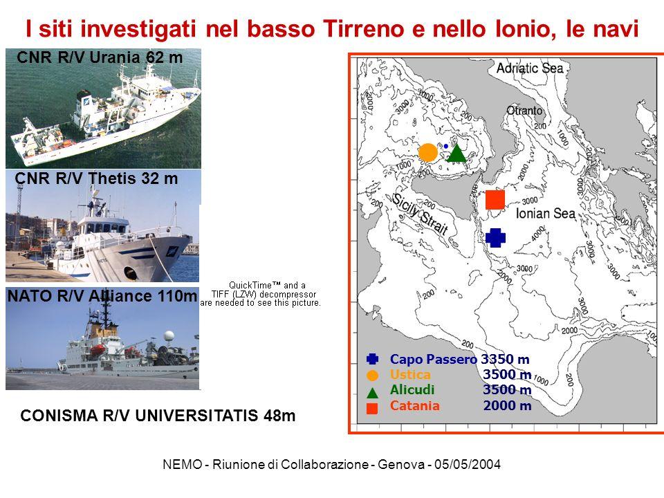 I siti investigati nel basso Tirreno e nello Ionio, le navi