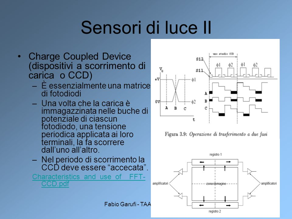 Sensori di luce IICharge Coupled Device (dispositivi a scorrimento di carica o CCD) È essenzialmente una matrice di fotodiodi.