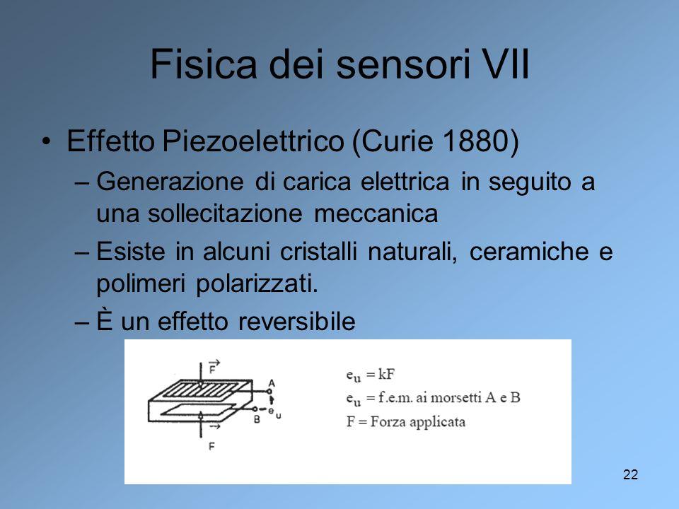 Fisica dei sensori VII Effetto Piezoelettrico (Curie 1880)