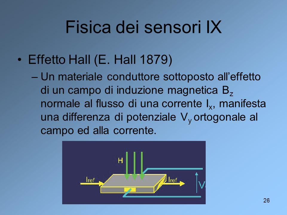 Fisica dei sensori IX Effetto Hall (E. Hall 1879)