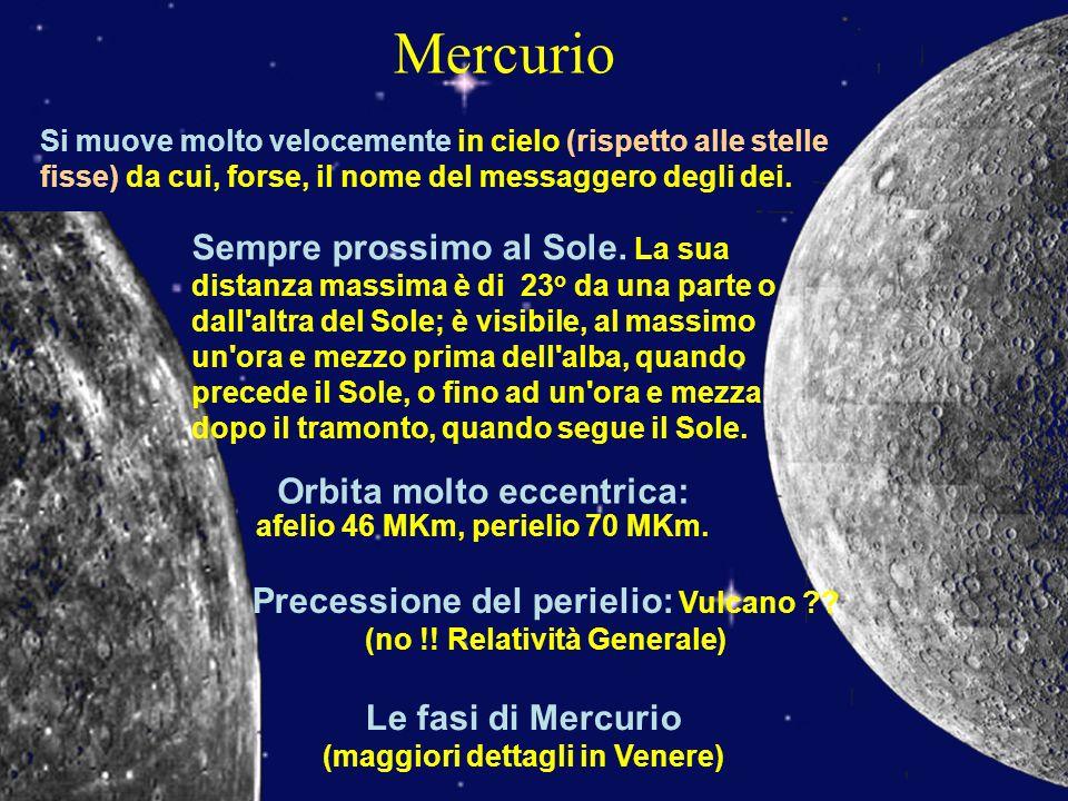 Mercurio Si muove molto velocemente in cielo (rispetto alle stelle fisse) da cui, forse, il nome del messaggero degli dei.