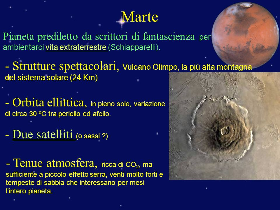Marte Pianeta prediletto da scrittori di fantascienza per ambientarci vita extraterrestre (Schiapparelli).