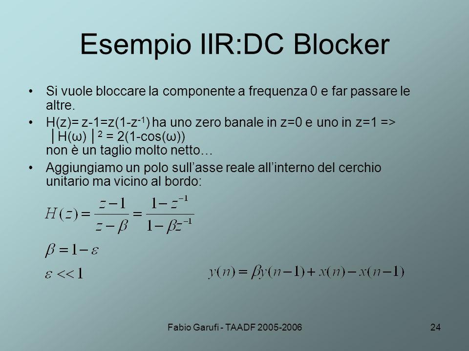 Esempio IIR:DC Blocker