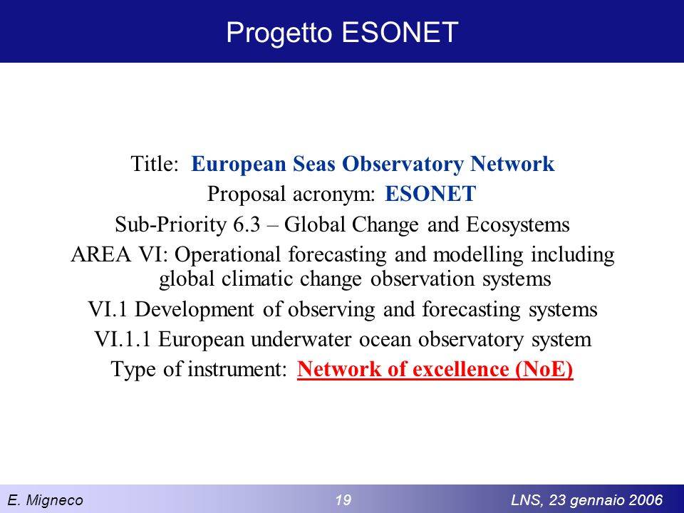 Progetto ESONET Title: European Seas Observatory Network