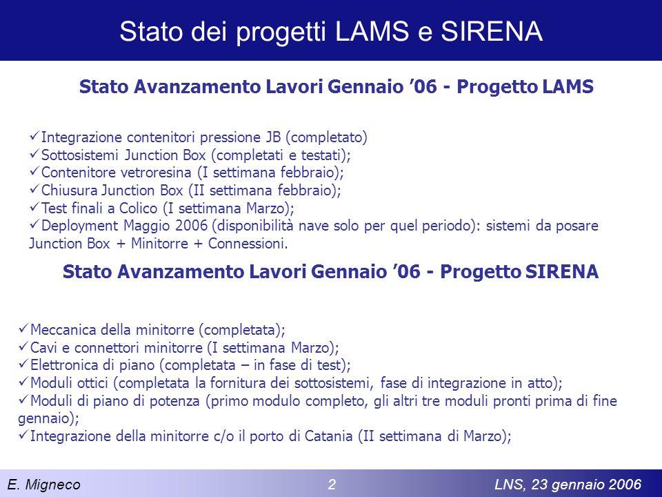 Stato dei progetti LAMS e SIRENA