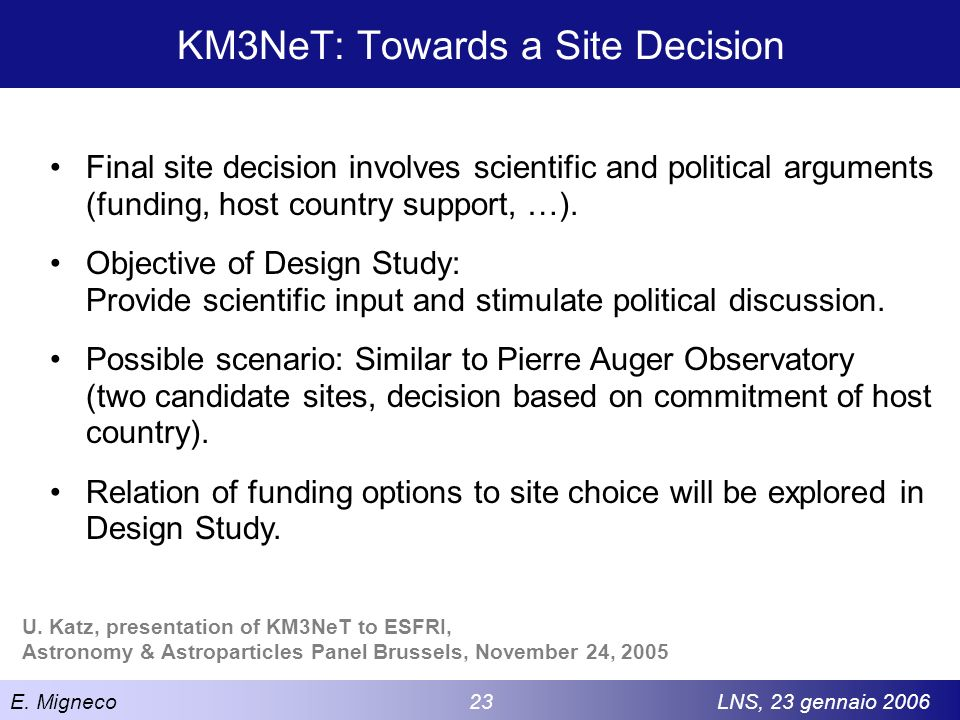 KM3NeT: Towards a Site Decision