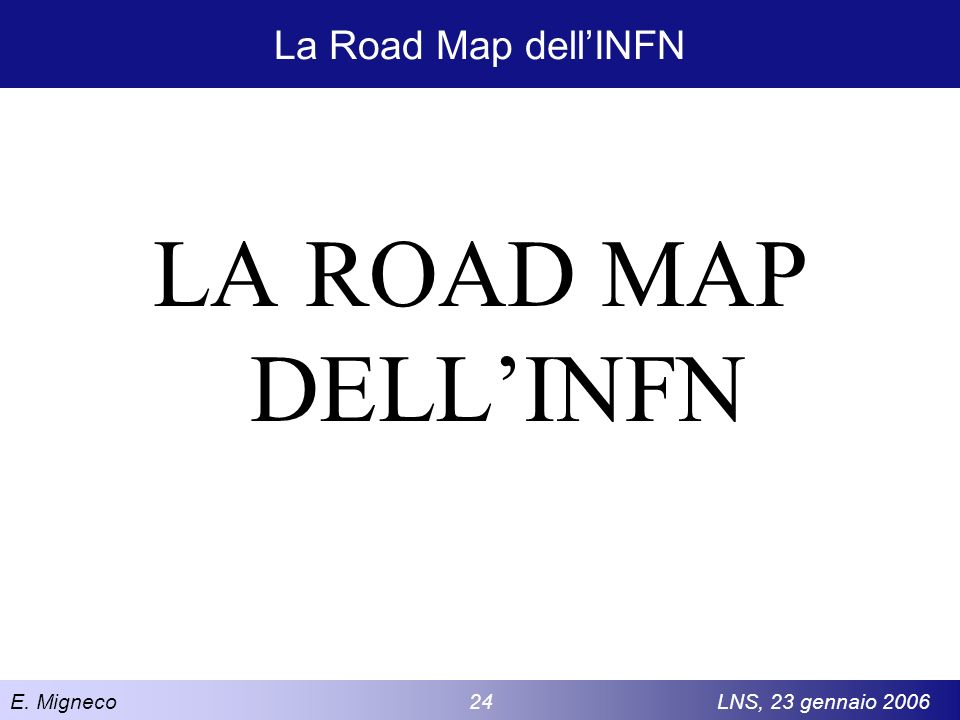 La Road Map dell'INFN LA ROAD MAP DELL'INFN