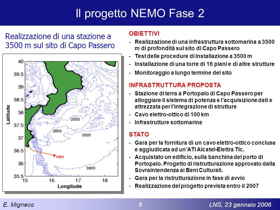 Il progetto NEMO Fase 2 OBIETTIVI. Realizzazione di una infrastruttura sottomarina a 3500 m di profondità sul sito di Capo Passero.