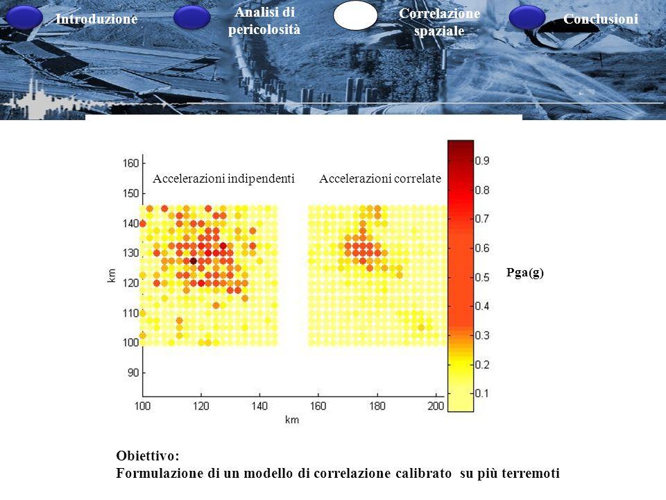 Formulazione di un modello di correlazione calibrato su più terremoti