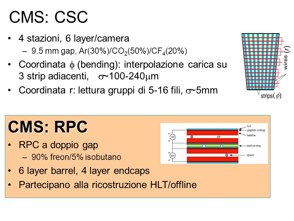 CMS: CSC CMS: RPC 4 stazioni, 6 layer/camera