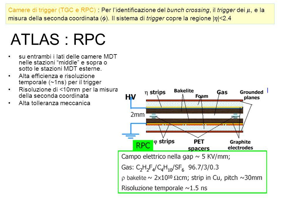 Camere di trigger (TGC e RPC) : Per l'identificazione del bunch crossing, il trigger dei m, e la misura della seconda coordinata (). Il sistema di trigger copre la regione ||<2.4