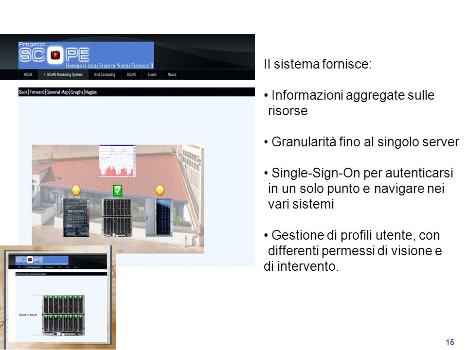 Il sistema fornisce: Informazioni aggregate sulle risorse. Granularità fino al singolo server.