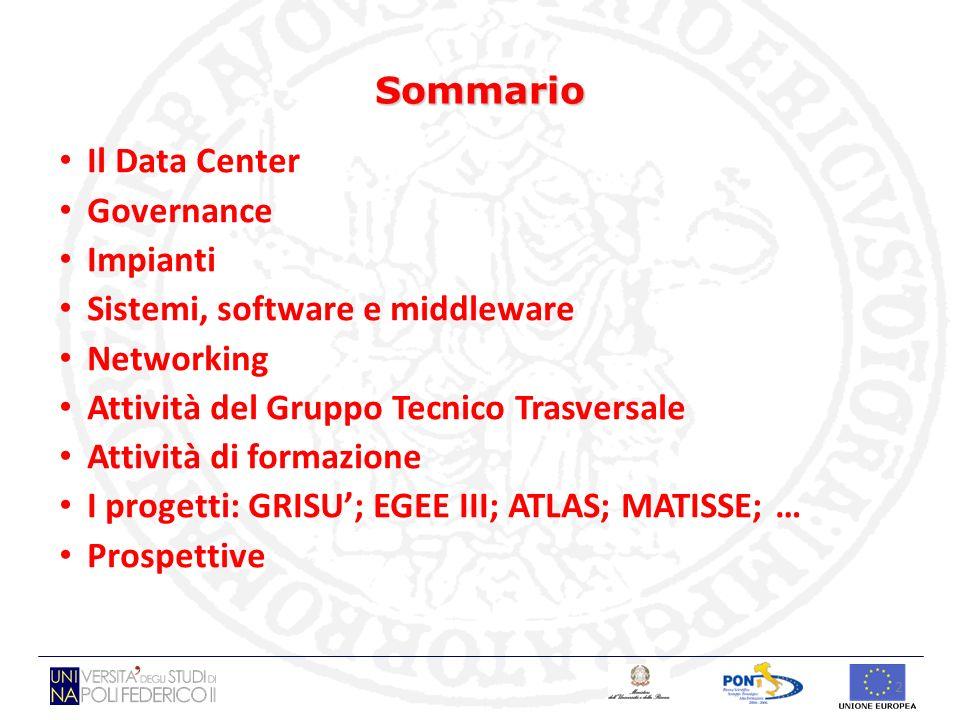 Sommario Il Data Center. Governance. Impianti. Sistemi, software e middleware. Networking. Attività del Gruppo Tecnico Trasversale.