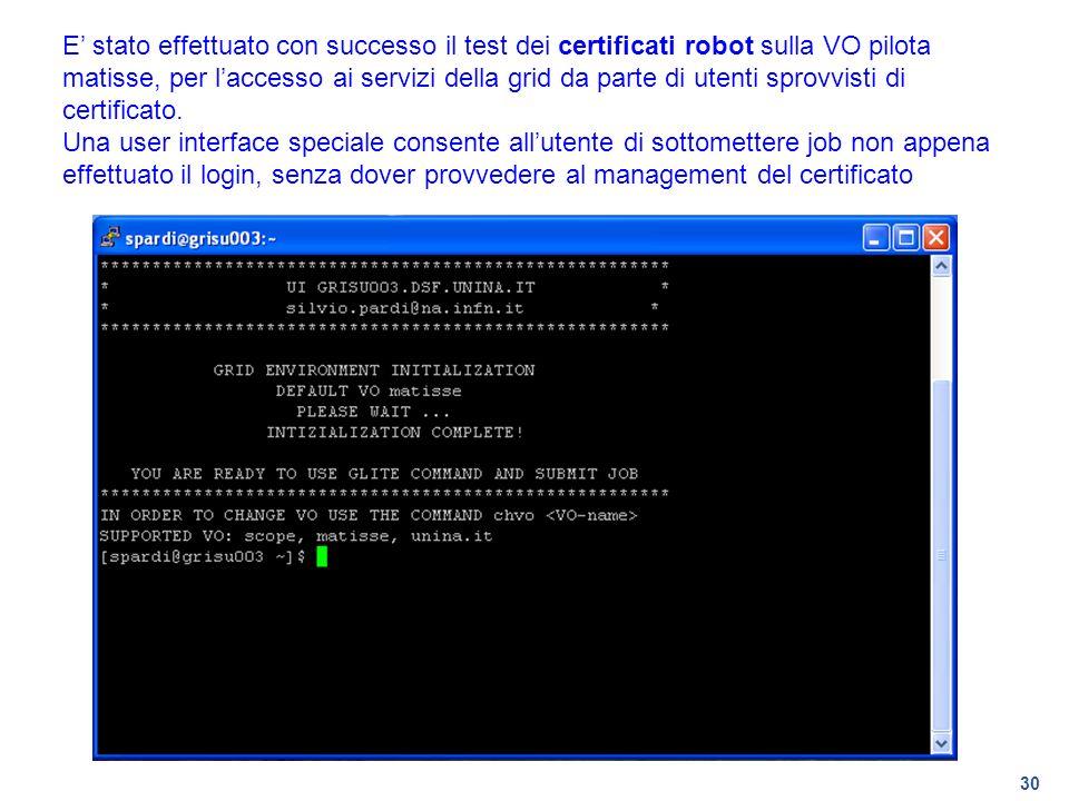 E' stato effettuato con successo il test dei certificati robot sulla VO pilota matisse, per l'accesso ai servizi della grid da parte di utenti sprovvisti di certificato.