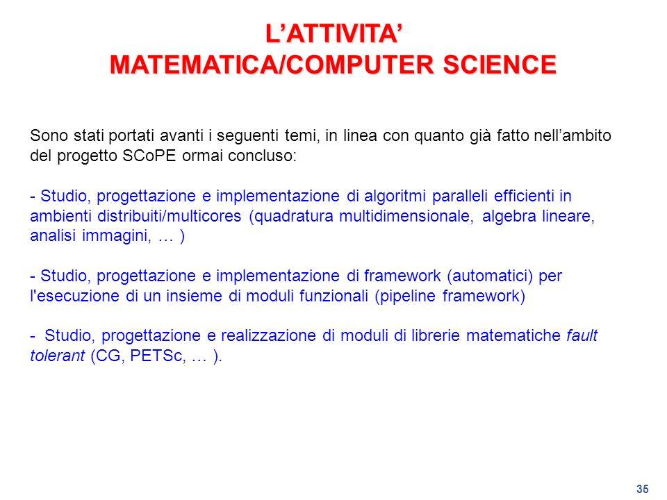 L'ATTIVITA' MATEMATICA/COMPUTER SCIENCE