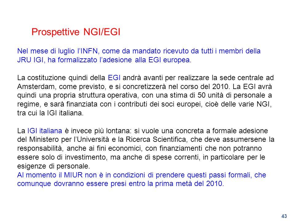 Prospettive NGI/EGI Nel mese di luglio l'INFN, come da mandato ricevuto da tutti i membri della JRU IGI, ha formalizzato l'adesione alla EGI europea.