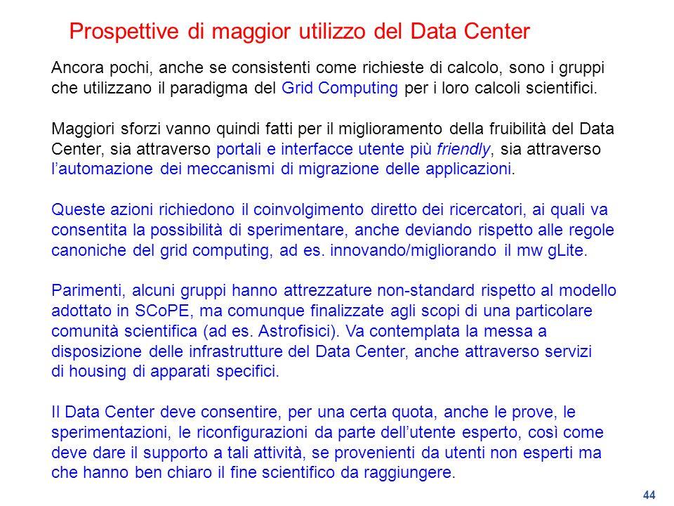 Prospettive di maggior utilizzo del Data Center