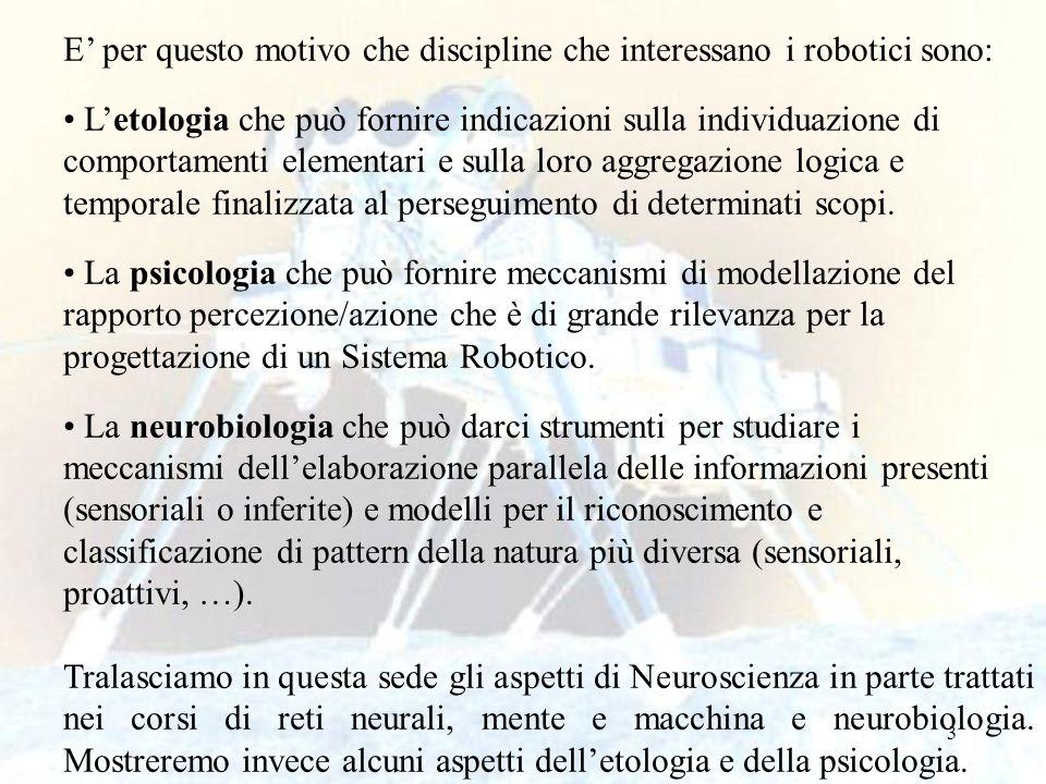 E' per questo motivo che discipline che interessano i robotici sono: