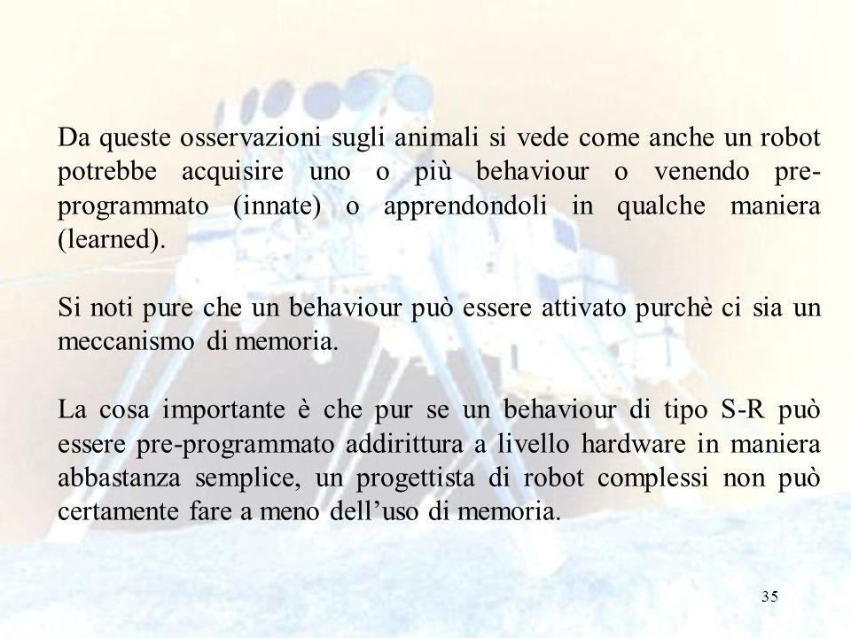 Da queste osservazioni sugli animali si vede come anche un robot potrebbe acquisire uno o più behaviour o venendo pre-programmato (innate) o apprendondoli in qualche maniera (learned).