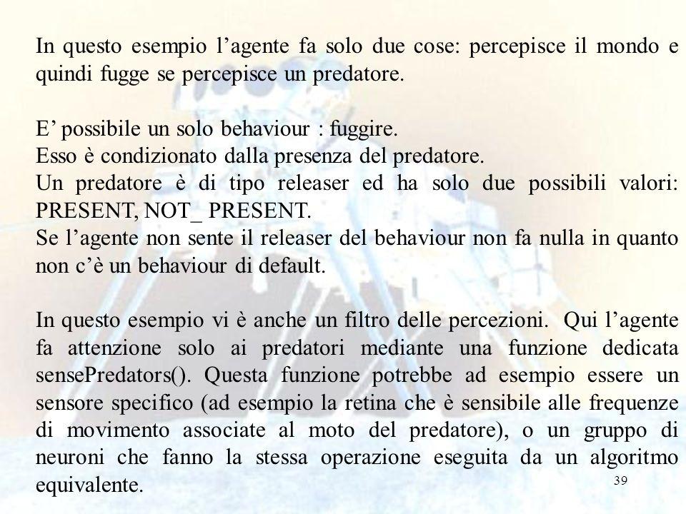 In questo esempio l'agente fa solo due cose: percepisce il mondo e quindi fugge se percepisce un predatore.