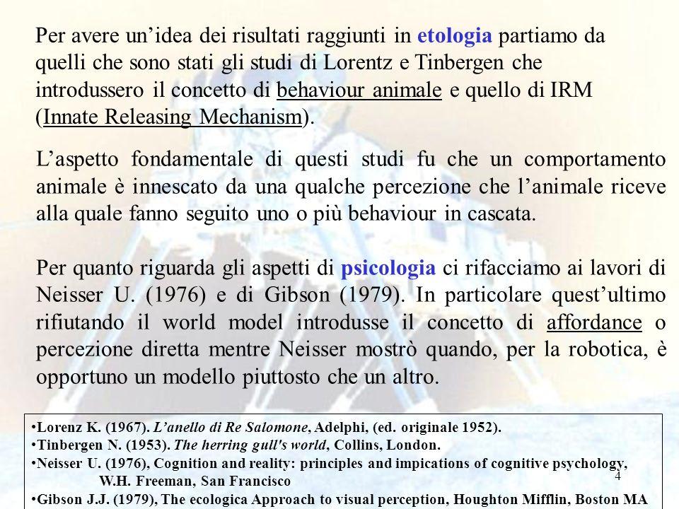 Per avere un'idea dei risultati raggiunti in etologia partiamo da quelli che sono stati gli studi di Lorentz e Tinbergen che introdussero il concetto di behaviour animale e quello di IRM (Innate Releasing Mechanism).