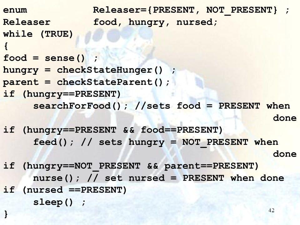 enum Releaser={PRESENT, NOT_PRESENT} ;