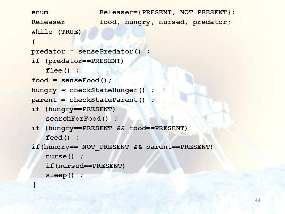 enum Releaser={PRESENT, NOT_PRESENT};