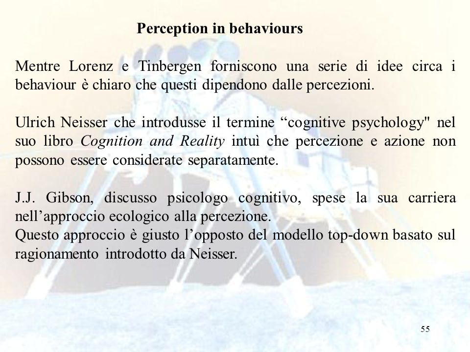 Perception in behaviours