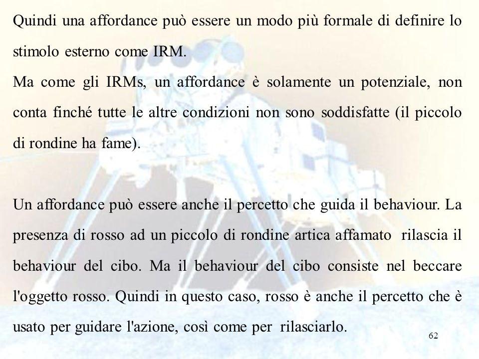 Quindi una affordance può essere un modo più formale di definire lo stimolo esterno come IRM.