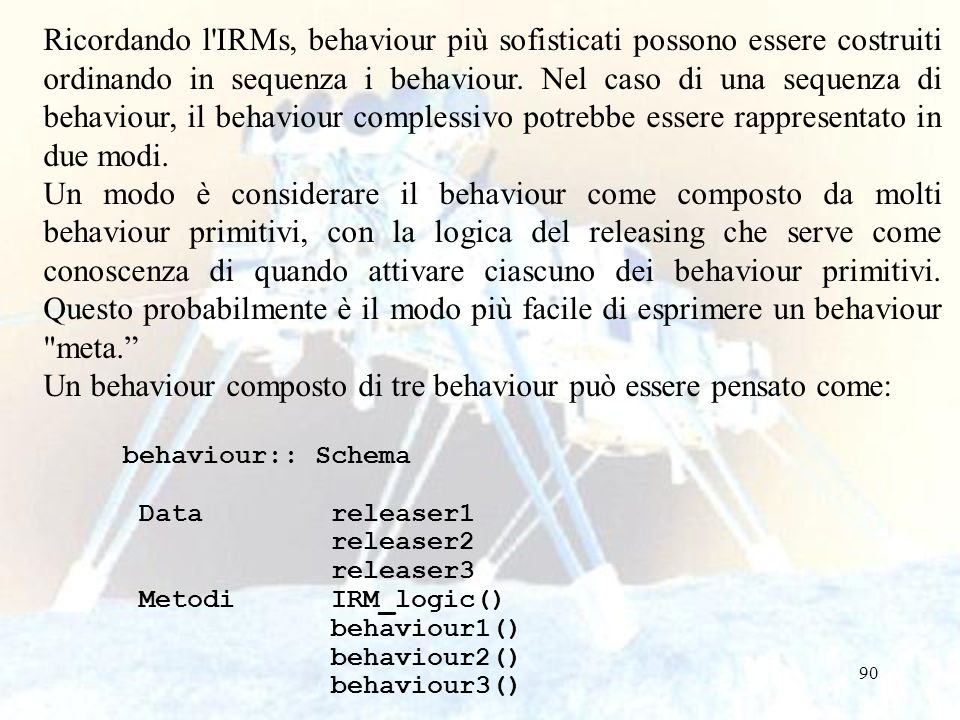Un behaviour composto di tre behaviour può essere pensato come: