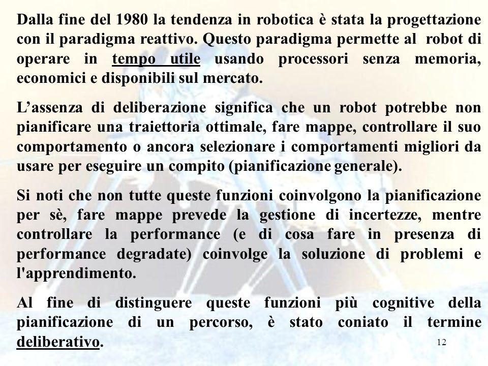 Dalla fine del 1980 la tendenza in robotica è stata la progettazione con il paradigma reattivo. Questo paradigma permette al robot di operare in tempo utile usando processori senza memoria, economici e disponibili sul mercato.