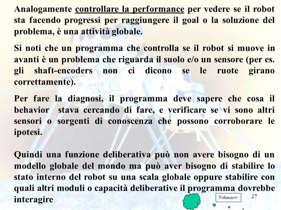 Analogamente controllare la performance per vedere se il robot sta facendo progressi per raggiungere il goal o la soluzione del problema, è una attività globale.